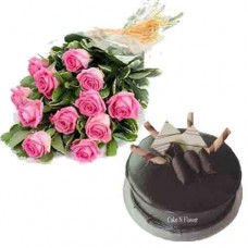 Chocolate Cake and Pink Rose